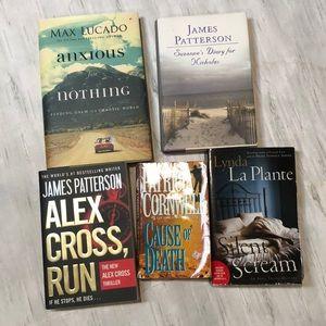 Lot of five books.